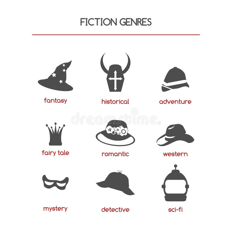 Fiction genre icons. Set of fiction genre icons. Features fantasy, historical, romantic fiction, adventure and other vector illustration