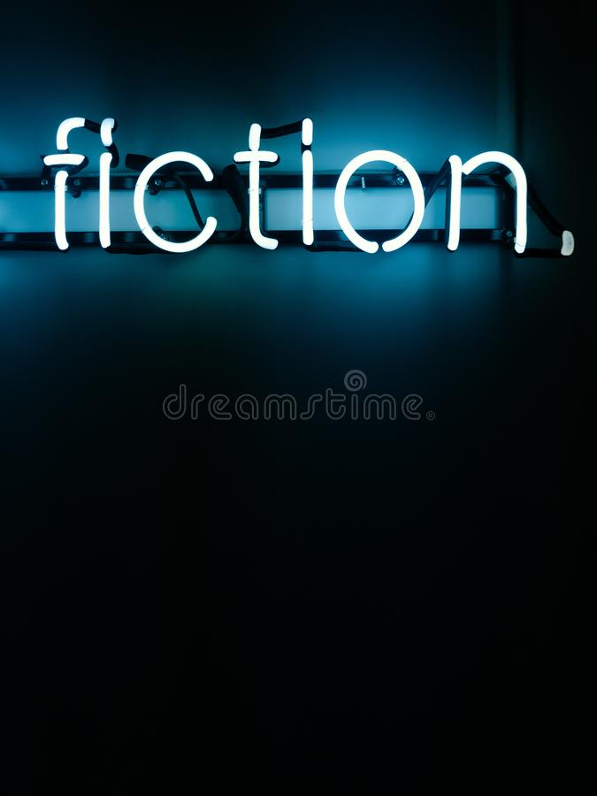 Fiction neon letters. How much of this is fiction neon letter installation royalty free stock photo