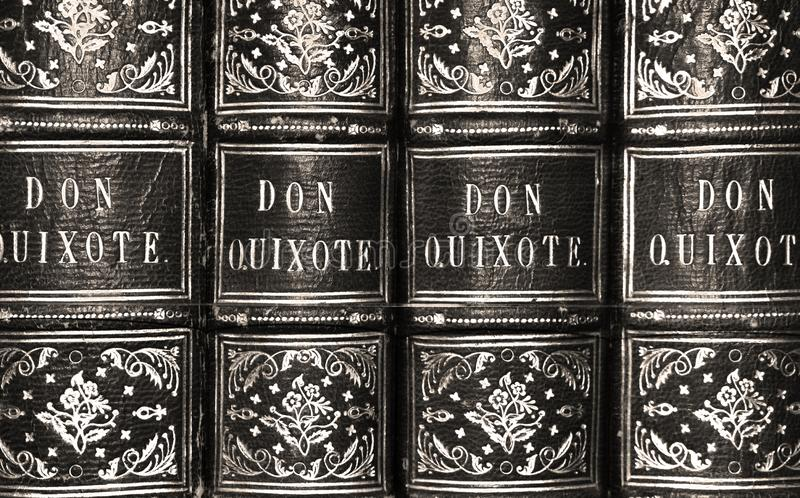 Don Quixote Antique Book Series in Black and White royalty free stock images