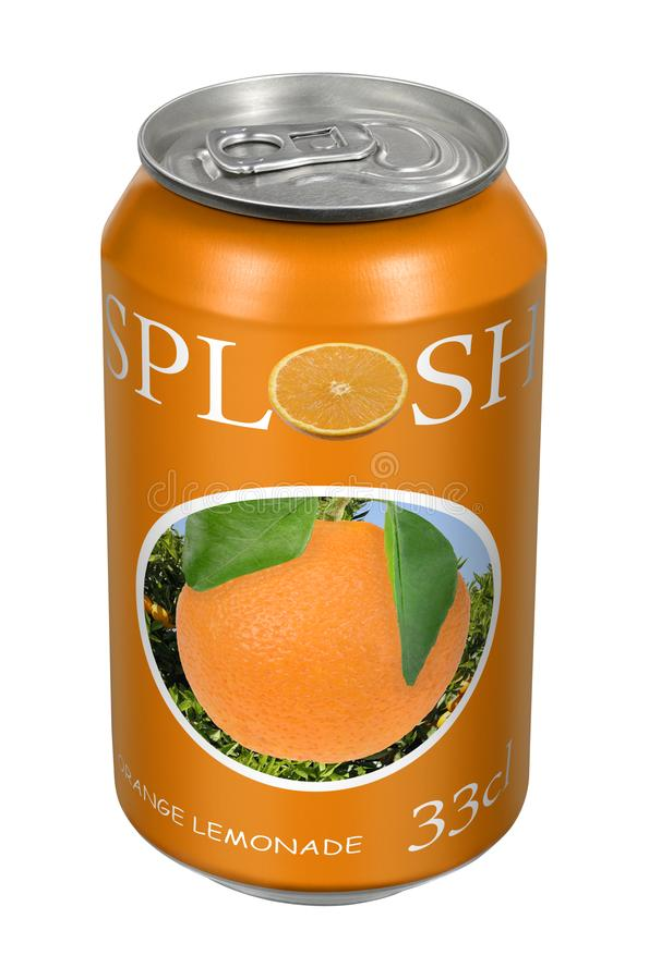 Fictive orange lemonade beverage tin can. Fictive orange lemonade beverage drink tin can on white background stock image