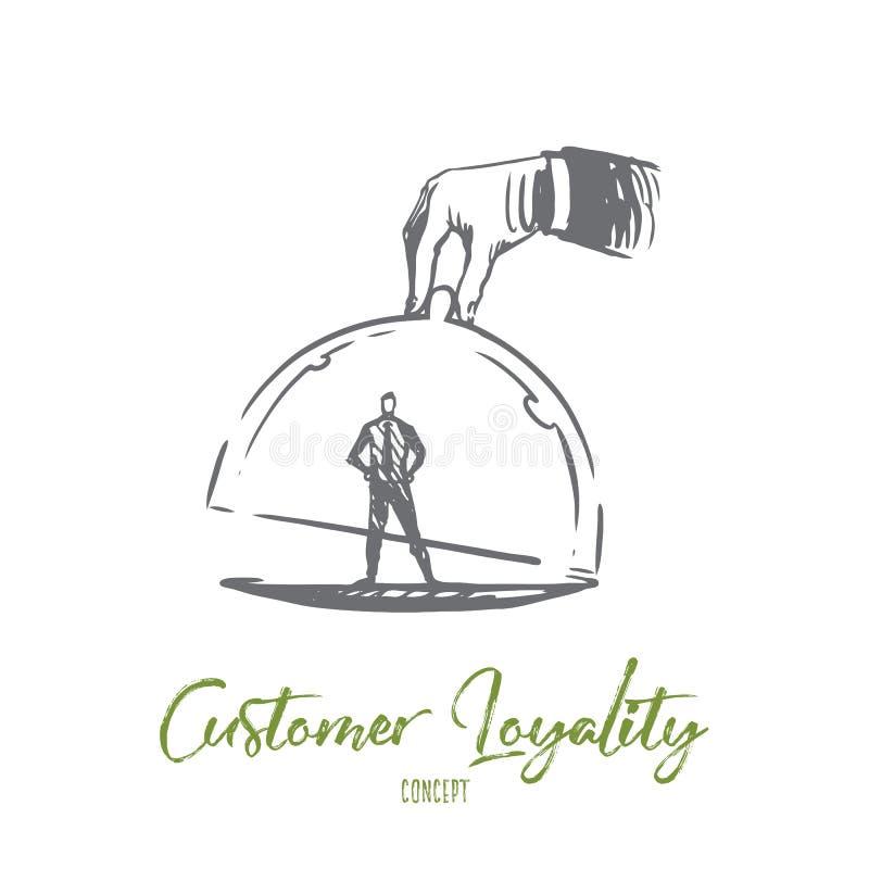 Fidélité de client, affaires, vente, concept de service Vecteur d'isolement tiré par la main illustration stock