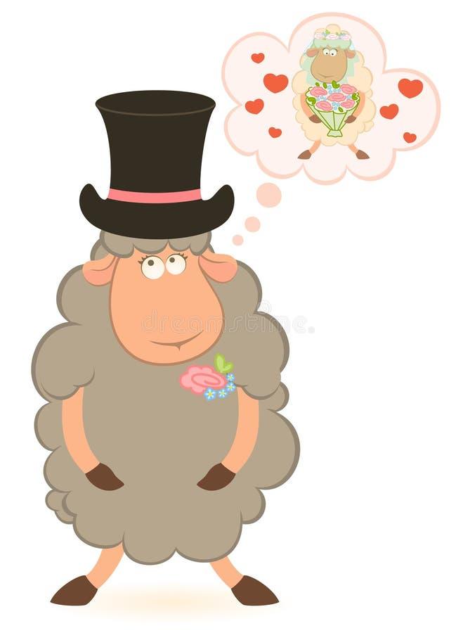 Fidanzato delle pecore del fumetto su priorità bassa bianca royalty illustrazione gratis