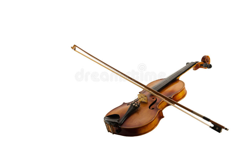 Fiddle and Bow on white. A Still life with a leaning fiddle with a bow on, isolated on white background royalty free stock photos