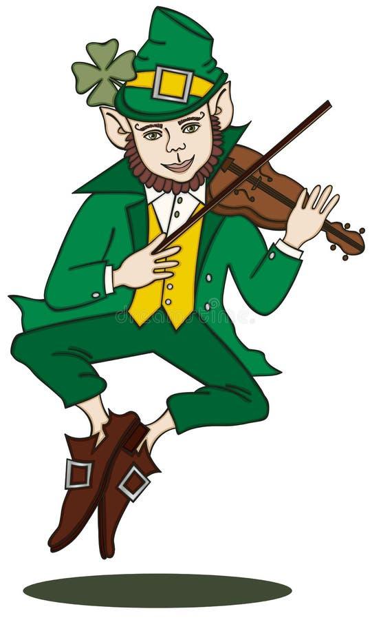 Fiddle-spelende Kabouter stock illustratie