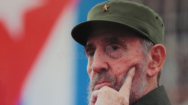 Fidel Castro. Portrait of Fidel Castro - the day of departure from his post as chairman of the Cuban royalty free stock photos
