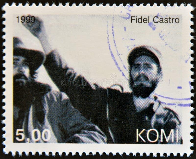 Fidel Castro. A stamp printed in Komi shows Fidel Castro stock image