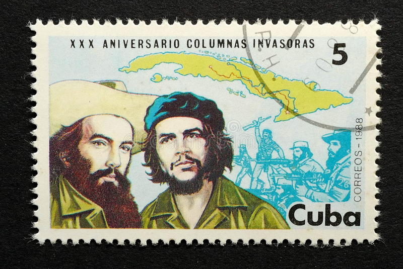 Fidel Castro and Che Guevara. Cuban Stamp of Fidel Castro and Che Guevara royalty free stock photo