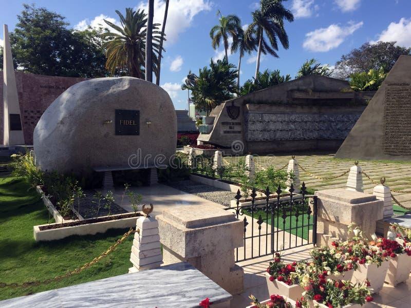 Fidel Castro grav på den Santa Ifigenia kyrkogården i Santiago, Kuba arkivfoton