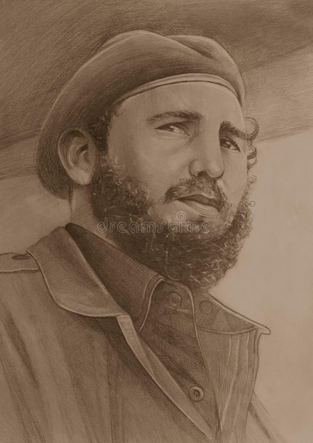 Fidel Castro rysunek na papierze ilustracji