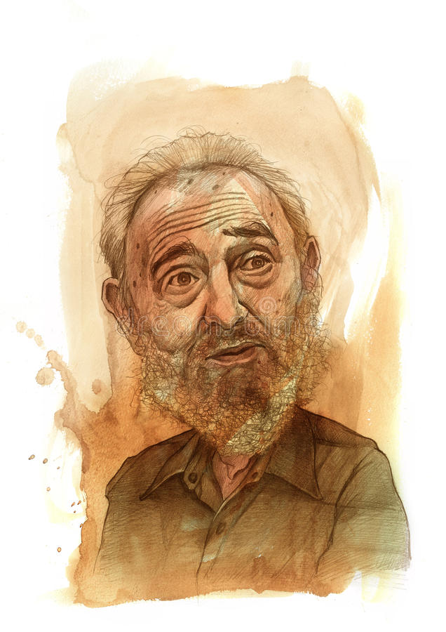 Fidel castro Sketch. Editorial use illustration for newspaper, magazines and web