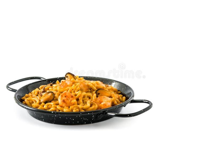 Fideua espanhol tradicional Paella do macarronete isolado fotos de stock