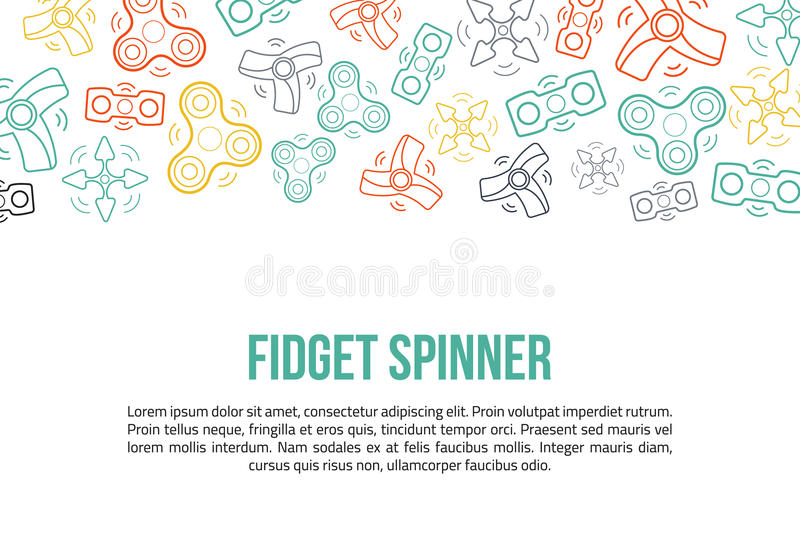Fidget spinner site header with outline icons in colorful style. Ready for promotion.  vector illustration