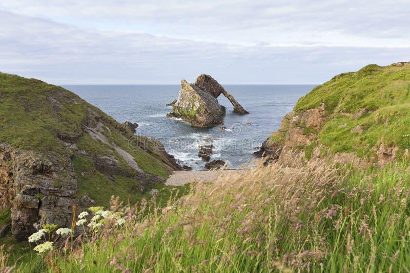 Ландшафт утеса смычка-fidle на побережье Шотландии на пасмурном после полудня стоковые фотографии rf