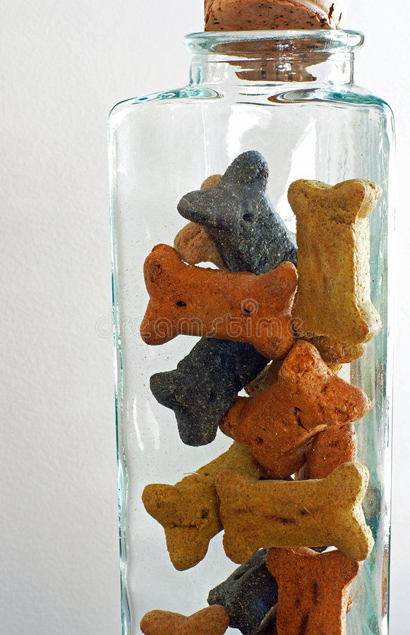 Fido's Cookie Jar. A glass cookie jar filled with all-natural dog treats for man's best friend stock photos
