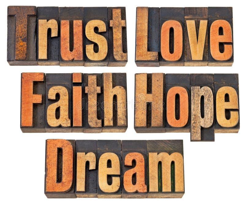 Fiducia, amore, fede, speranza e sogno fotografia stock