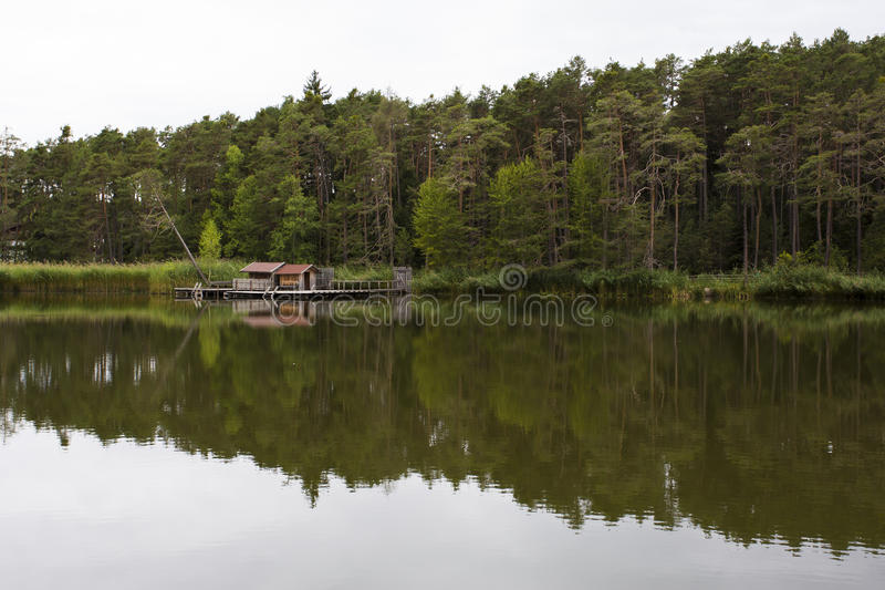 Fie' lake. View of reflections on the Fie' lake stock photography