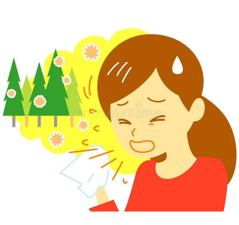 Fiebre de heno, estornudando, mujer libre illustration