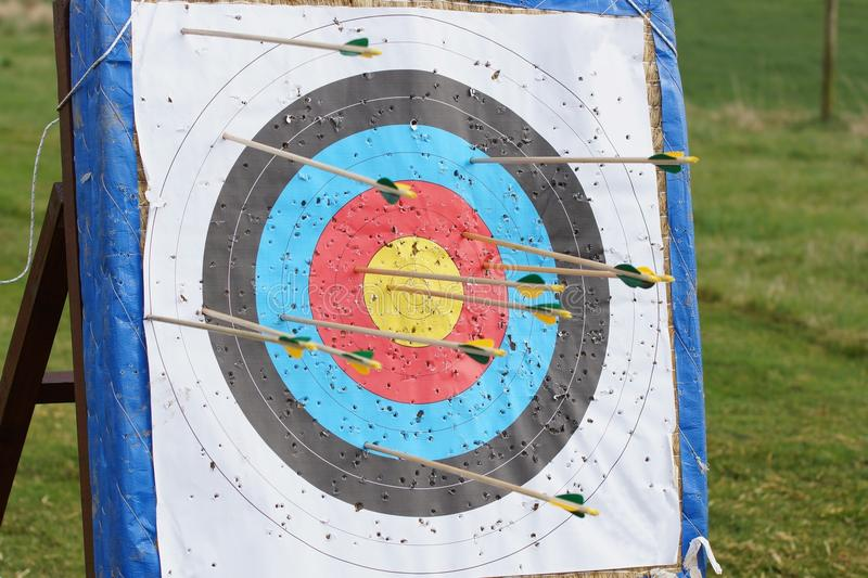Archery Target. Field archery target with a number of wooden arrows sticking out of it royalty free stock photography