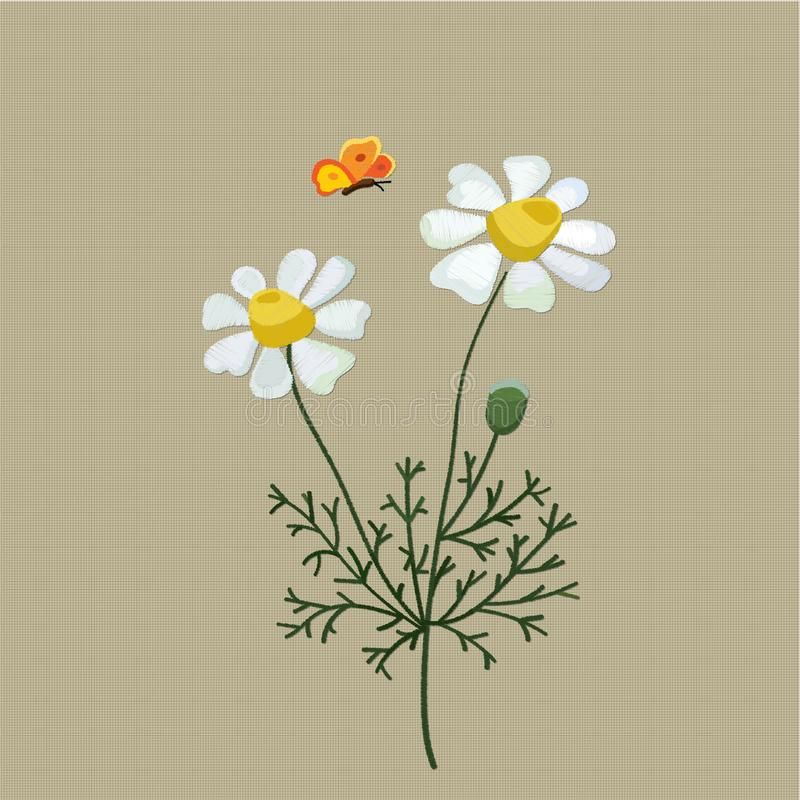 Field camomile embroidered with satin stitch on a beige background. Vector illustration vector illustration