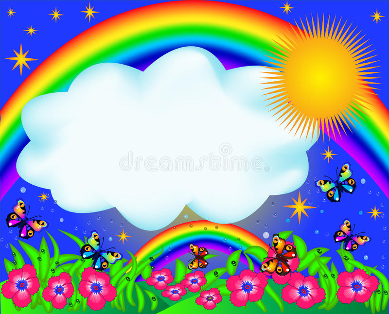 Field with colour butterfly and rainbow stock illustration