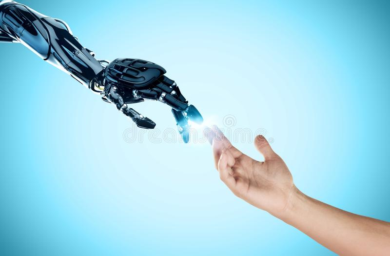 ROBO AND HUMAN HAND artificial intelligence royalty free stock photography