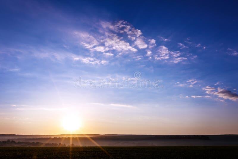 Field dawn sky stock image