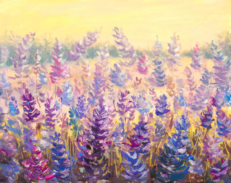 Field of delicate flowers Lavender. Blue-purple flowers in summer painting artwork. royalty free stock photography