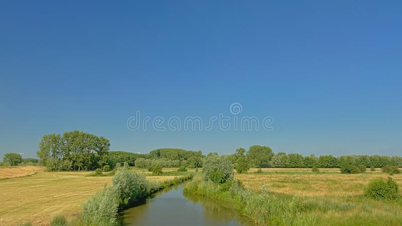 Field with ditch with reed and trees in Kalkense Meersen nature reerve, Flanders, Belgium. Wetland landscape with field with canal with reed and trees in royalty free stock images