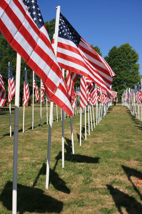 Field of flags. A field of flags honors veterans who have served in the armed forced of the United States stock images