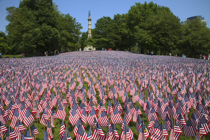 Field of flags at Boston Common. Field of national flags at Boston Common on Memorial Day royalty free stock photos