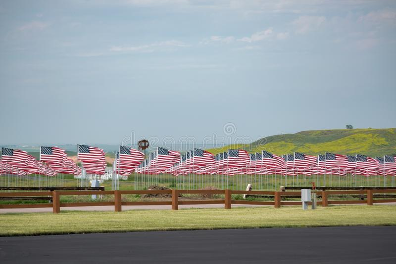 Field of Flags. A Field of Flags in Sturgis South Dakota honoring our military stock photography