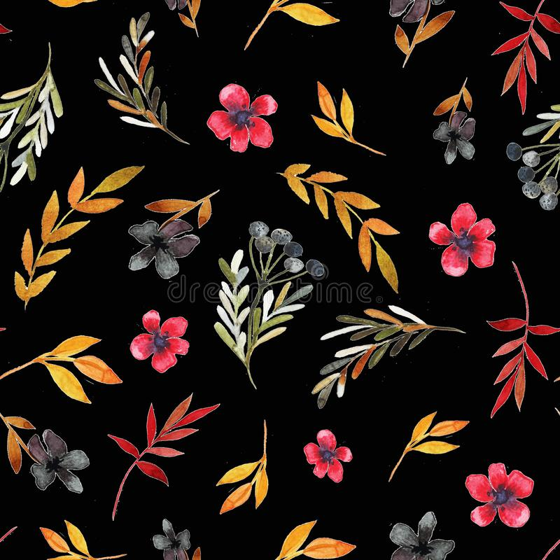 Field flower pattern with red flowers and leaves stock images