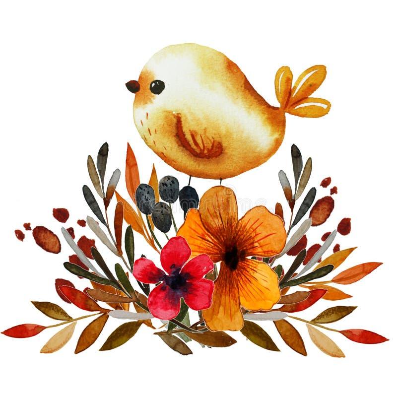 Field flower print with bird vector illustration