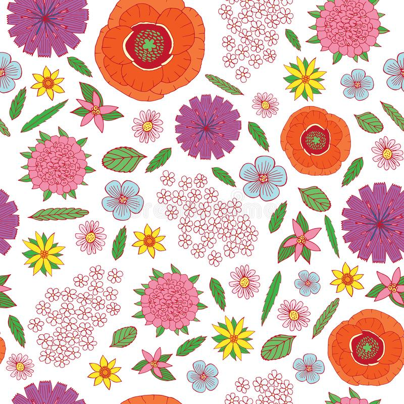 Field flowers on the white background - seamless pattern. Doodle cartoon floral endless background design. Vector illustration vector illustration