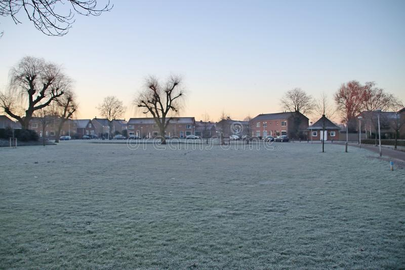Field of grass became white of ice during night frost in Nieuwerkerk aan den IJssel in the Netherlands stock photo