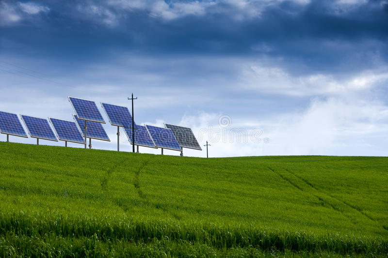 Download Field Of Grass And Solar Power Stock Photo - Image: 14021870