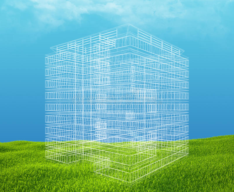 Field of green grass and blue sky with wireframe. Building stock photography