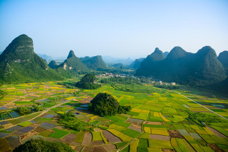 Field in Guilin of China. Guilin is a subtropical climate, mild climate, abundant rainfall, the average annual rainfall is 900 mm, the annual frost free period stock image