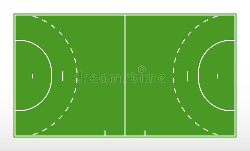 Field for handball. Outline of lines handball field. Green field for handball. stock illustration