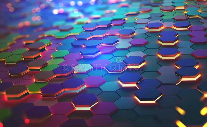 Bright color and neon light of the heated edges of the hexagons. A field of hexagons in a futuristic 3D illustration. Bright color and neon light of the heated stock illustration