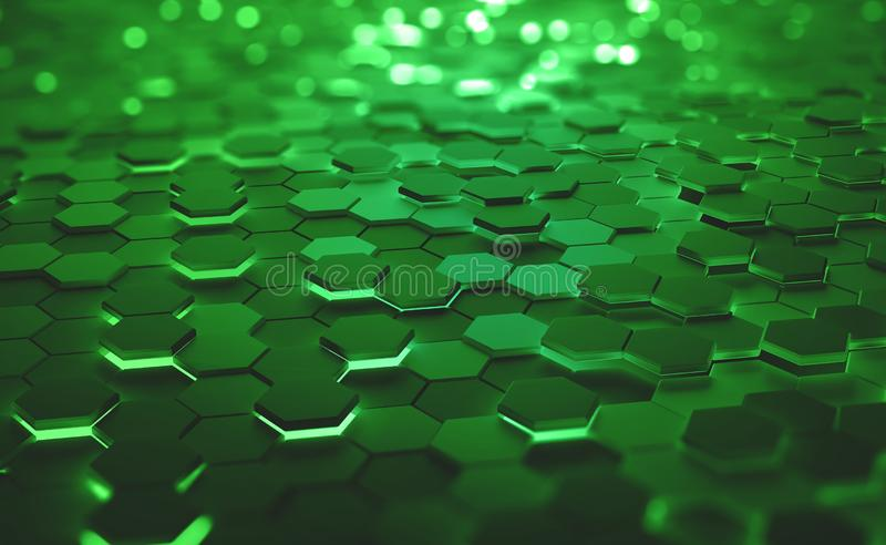 A field of hexagons in a futuristic 3D illustration. Computer of the future. Burning, glowing edges of objects. Shallow depth of field with bokeh effect royalty free illustration
