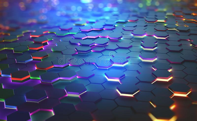A field of hexagons in a futuristic. 3D illustration. Bright color and neon light of the heated edges of the hexagons. Shallow depth of field with bokeh effect royalty free illustration