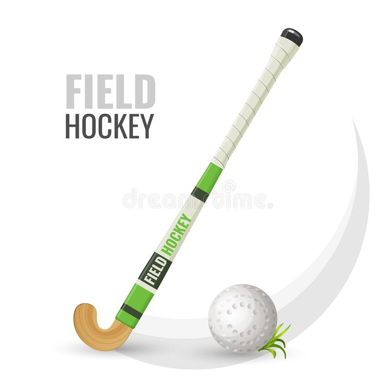 Field hockey competitive game and equipment vector illustration. Field hockey competitive game and equipment with ball. Popular recreation and sport activity vector illustration