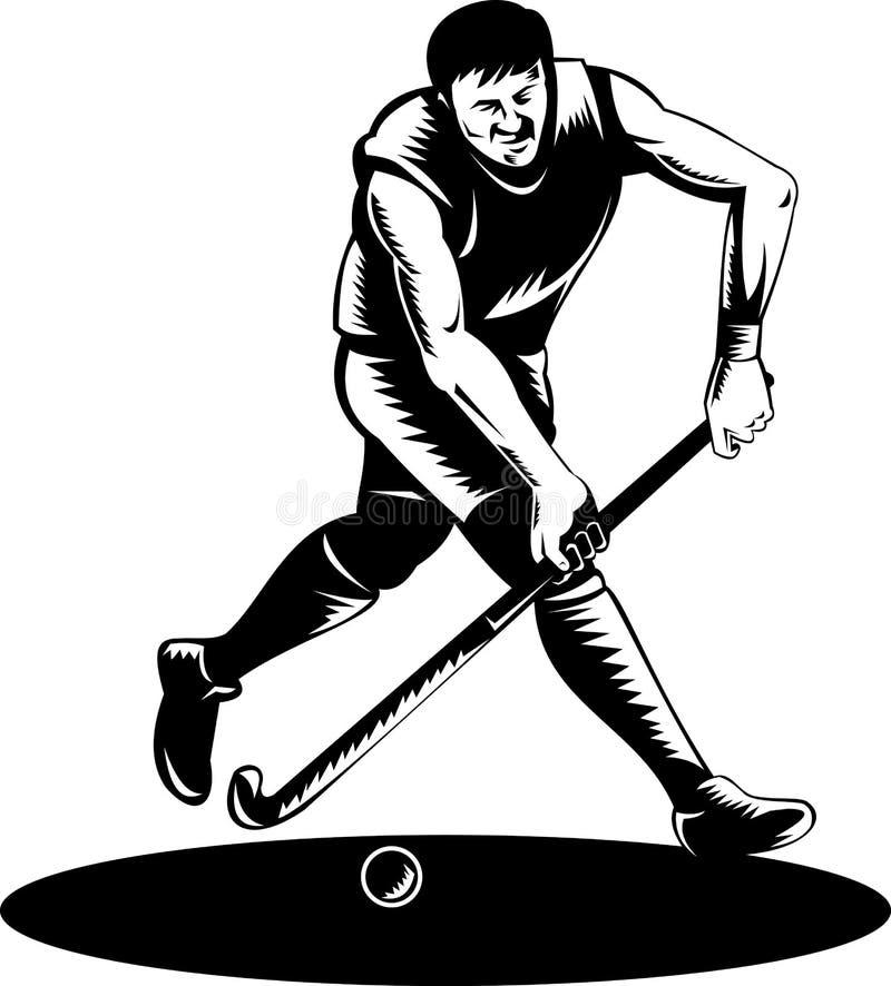 Field hockey player running. Vector illustration of a Field hockey player running with ball done in woodcut retro style vector illustration