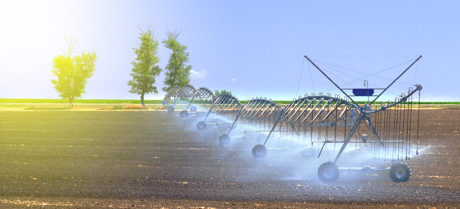 Field irrigation system for better plant growth and further cultivation and growing of agricultural crops royalty free stock photos