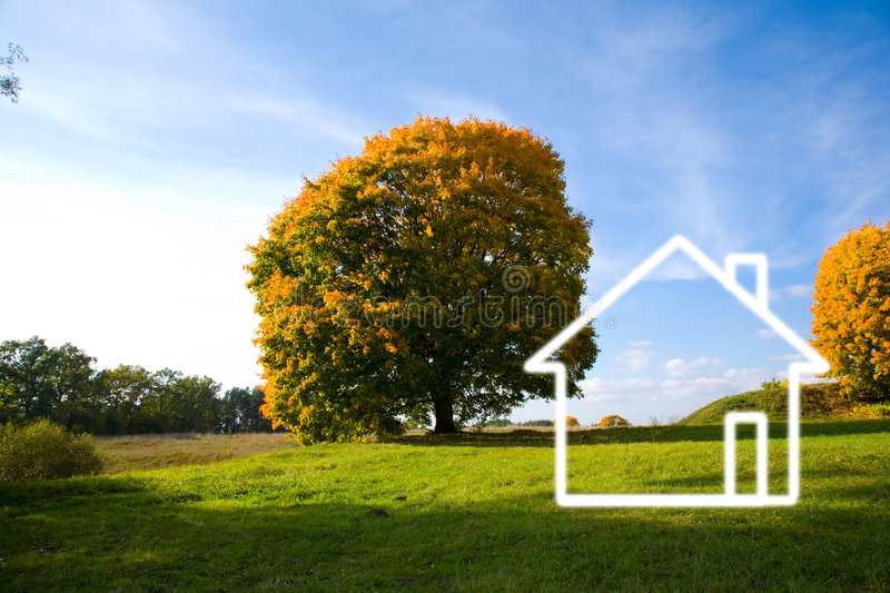 Download Field landscape and house stock image. Image of ideas - 7496785