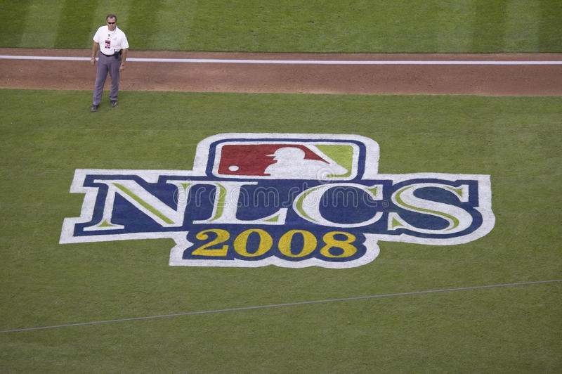 Field logo for National League Championship Series. (NLCS), Dodger Stadium, Los Angeles, CA on October 12, 2008 royalty free stock photography