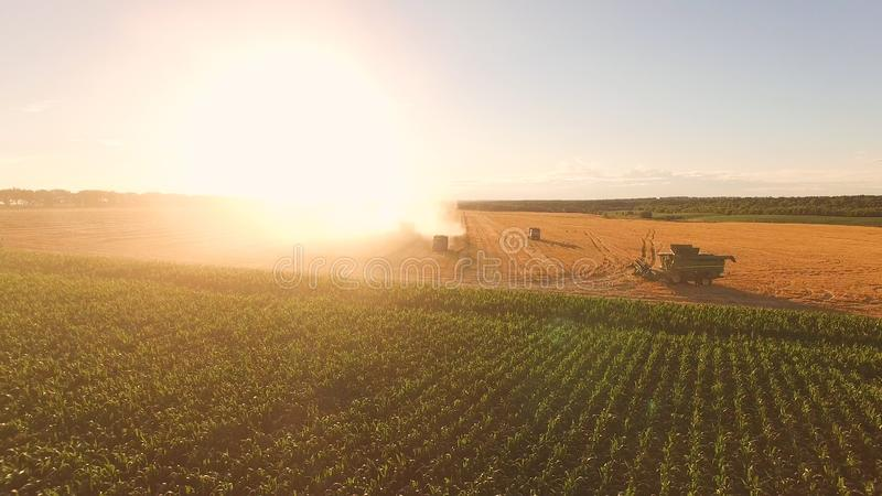 Field, machines and sky. stock photography