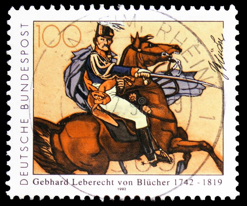Field Marshal Blücher (after Simon Meister), Gebhard Leberecht von Blücher(1742-1819) serie, circa 1992. MOSCOW, RUSSIA - FEBRUARY 21, 2019: A stamp printed in royalty free stock photos