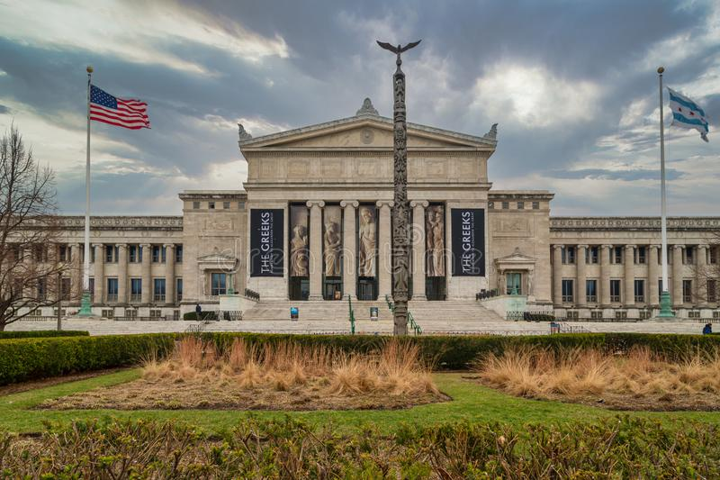 The Field Museum of Natural History exterior daylight view with clouds in the sky in background stock photography